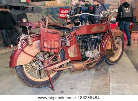 St. Petersburg Russia - 15 April, Harley-Davidson in 1915 issue,15 April, 2017. International Motor Show IMIS-2017 in Expoforurum. Motorcycles and motoconcepts presented at St. Petersburg Motor Show.