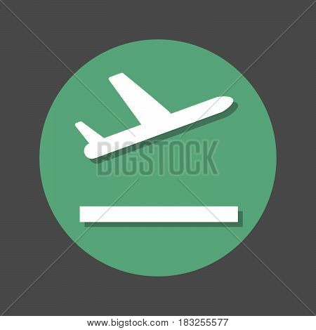 Plane takeoff flat icon. Round colorful button circular vector sign with shadow effect. Flat style design