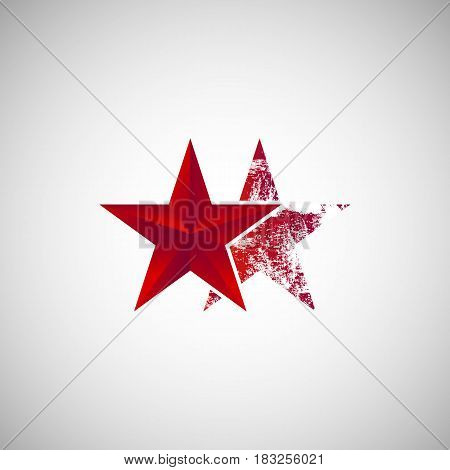 Isolated Two red star logo vector illustration. Sign suitable for the decoration of something on a white background