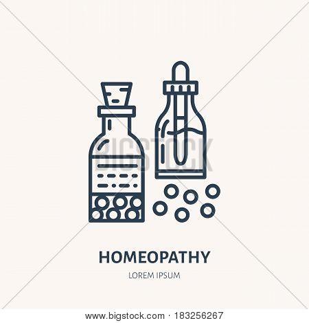 Homeopathy line icon. Vector logo for alternative medicine store.