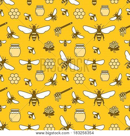 Beekeeping colored seamless pattern, apiculture vector illustration. Apiary thin line icons - bee, beehives, barrel. Cute repeated texture for honey processing business.