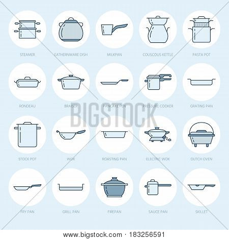 Pot, pan and steamer flat line icons. Restaurant professional equipment signs. Kitchen utensil - wok, saucepan, eathernware dish. Thin linear blue colored signs for commercial cooking store.