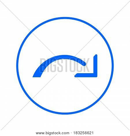 Redo right arrow circular line icon. Round colorful sign. Flat style vector symbol