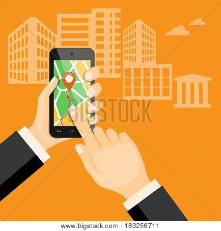 Flat modern vector illustration gps app on the mobile phone in the hand of businessman with map and pointer. eps 10.