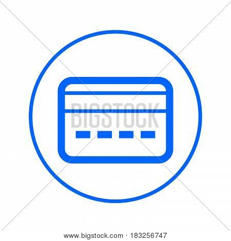 credit card circular line icon. Round colorful sign. Flat style vector symbol