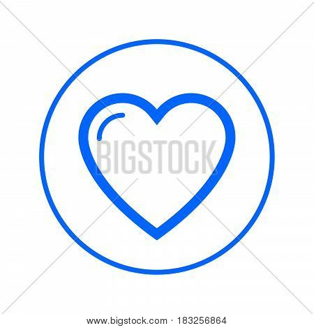 Love heart favorite circular line icon. Round colorful sign. Flat style vector symbol