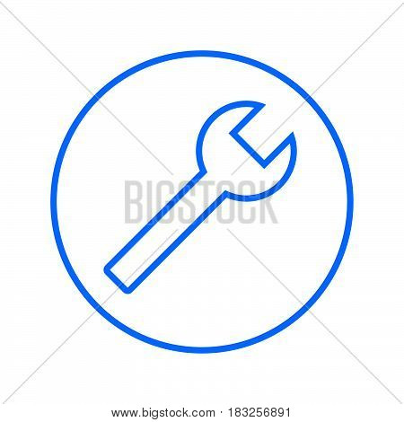 Spanner wrench key circular line icon. Repair round colorful sign. Flat style vector symbol