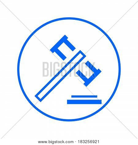Auction gavel judge hammer circular line icon. Round colorful sign. Flat style vector symbol