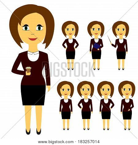 Set of business people in flat style isolated on white background. Women with brown hair in different poses