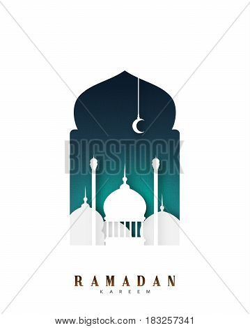 Ramadan Islamic background with mosques. Vector illustration