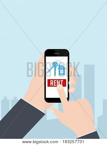 Hand holding smartphone with rent apartments, homes mobile application on screen. Vector illustration