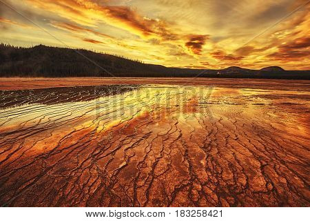 Dramatic Sunset At Grand Prismatic Spring In Yellowstone National Park, Usa.