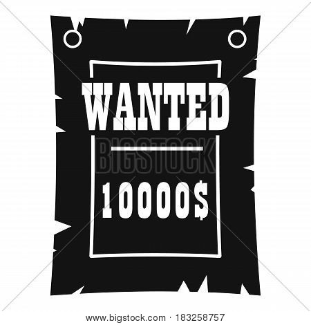 Vintage wanted poster icon in simple style isolated on white background vector illustration