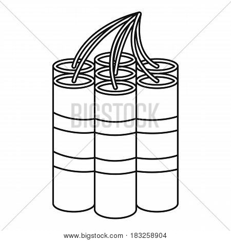 Dynamite sticks icon in outline style isolated on white background vector illustration
