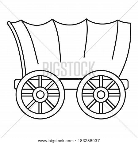 Ancient western covered wagon icon in outline style isolated on white background vector illustration