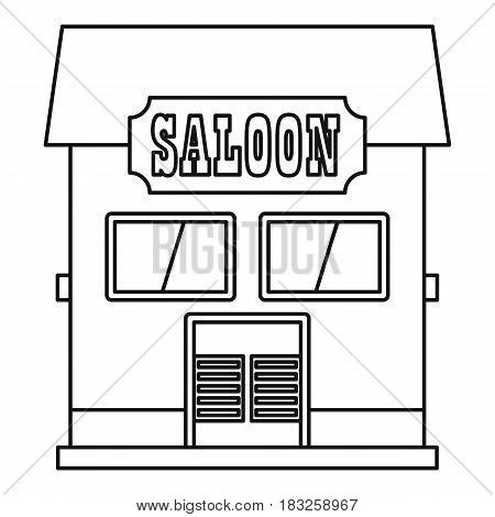 Western saloon icon in outline style isolated on white background vector illustration