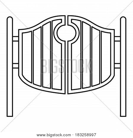 Vintage western swinging saloon doors icon in outline style isolated on white background vector illustration