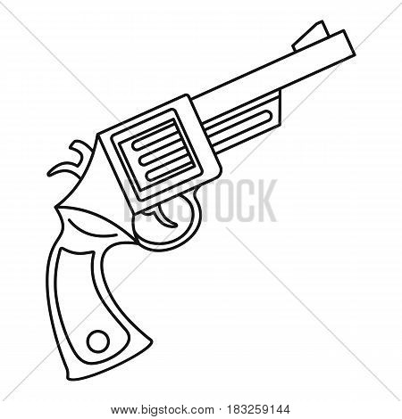 Vintage revolver icon in outline style isolated on white background vector illustration