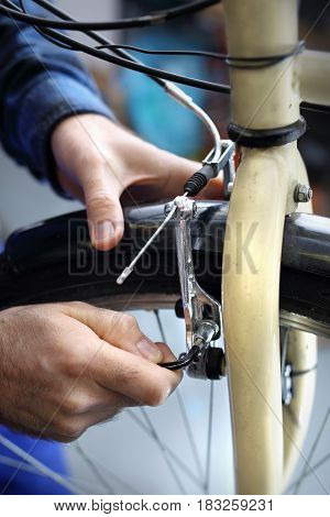 Technical review of the bike. Bicycle brakes, adjustable pads.