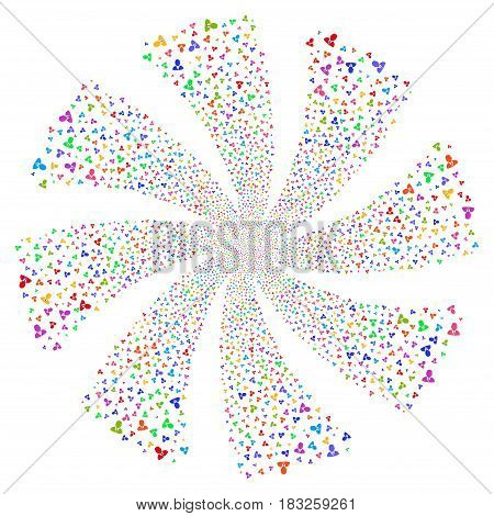 Boss fireworks swirl rotation. Vector illustration style is flat bright multicolored iconic symbols on a white background. Object whirlpool constructed from random pictographs.