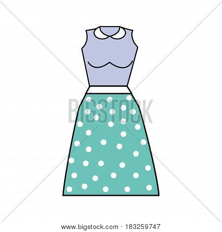 casual blouse and skirt cloth style, vector illustration
