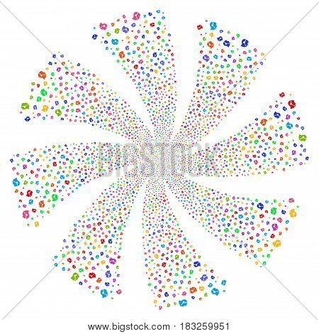 Call Center Operator fireworks swirl rotation. Vector illustration style is flat bright multicolored iconic symbols on a white background. Object spiral constructed from random icons.