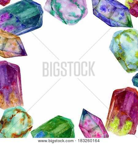 Watercolor border with bright gem stones. Hand painted crystal frame isolated on white background. For design or print.
