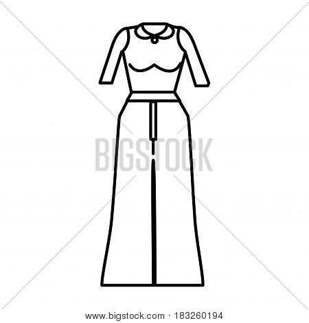 line casual blouse and pants cloth style, vector illustration