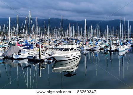 March 15, 2017 in Santa Barbara, CA:  Sail Boats and yachts docked at the Santa Barbara Marina where people can take their own yachts out to sea or rent boats taken in Santa Barbara, CA