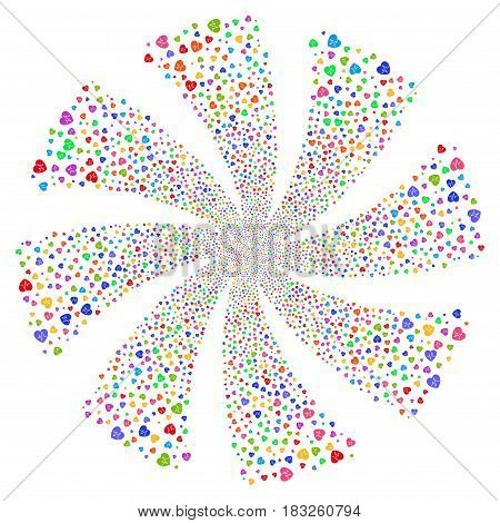 Cardiology fireworks swirl rotation. Vector illustration style is flat bright multicolored iconic symbols on a white background. Object flower done from random design elements.