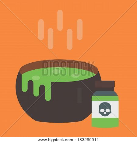 Black vector cauldron with green witches magic broth witchcraft horror potion cooking boiler illustration. Halloween background witch treasure liquid boiling brew.