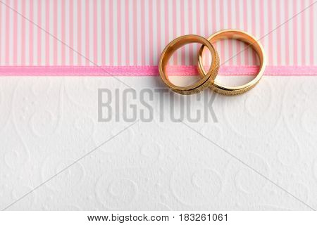 Elegant Wedding background - Two Wedding rings and vintage textures with copy space for text