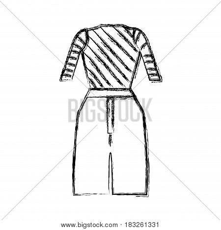 contour casual blouse and pants cloth style, vector illustration