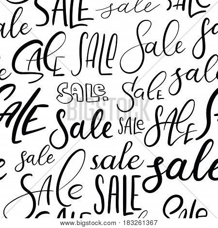 Sale. Seamless Hand Lettering Pattern. Vector Background. Modern Calligraphy