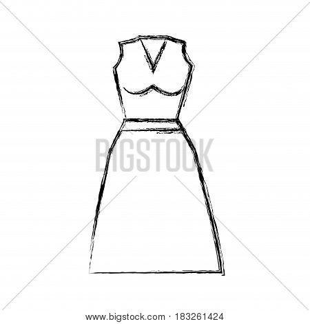 contour casual blouse and skirt cloth style, vector illustration