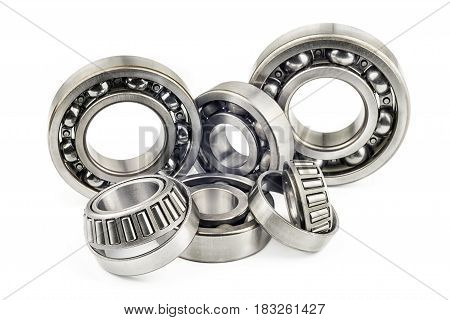 Bearings with shallow depth of field on a white background