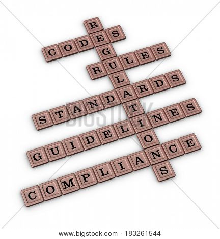 Compliance crossword puzzle isolated on white background. 3D illustration.