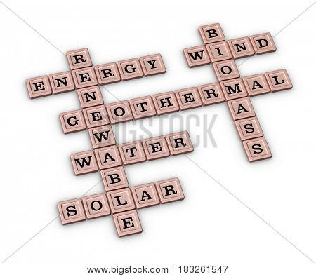 Renewable Green Energy crossword puzzle. Save Earth concept. 3D illustration isolated on white background.