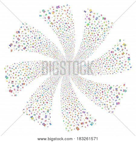 Certificate Seal fireworks swirl rotation. Vector illustration style is flat bright multicolored iconic symbols on a white background. Object twirl created from random pictographs.