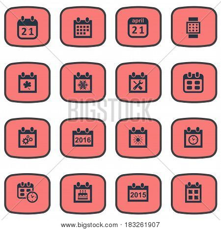 Vector Illustration Set Of Simple Date Icons. Elements Intelligent Hour, Almanac, Date Block And Other Synonyms Special, Sun And Repair.