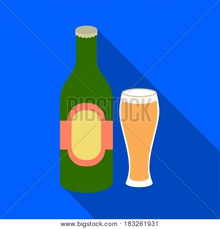 Beer icon in flat style isolated on white background. Alcohol symbol vector illustration.