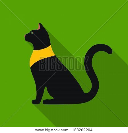 Cat goddess Bastet icon in flat style isolated on white background. Ancient Egypt symbol vector illustration.