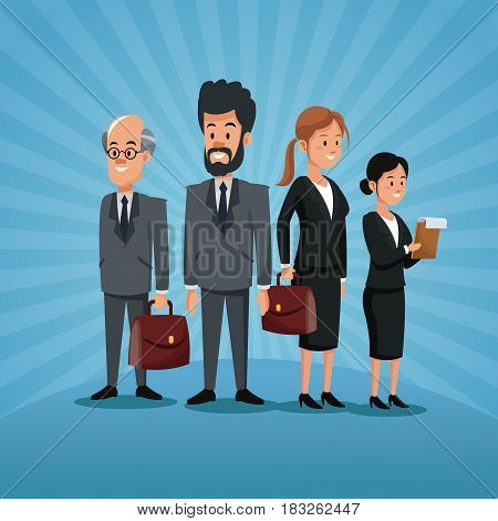 labor day group people business staff with portfolio vector illustration
