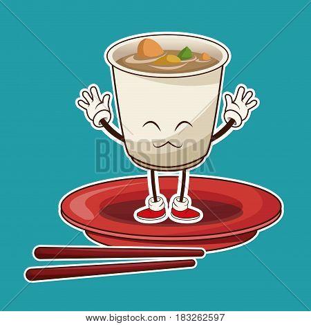 kawaii ramen soup oriental food japanese platter and chop sticks vector illustration
