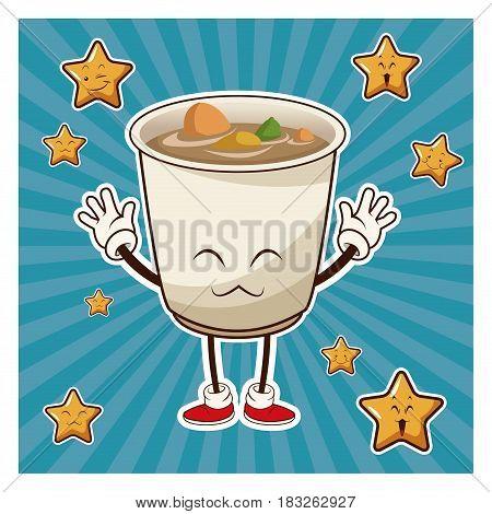 kawaii jsoup ramen apanese food funny character vector illustration