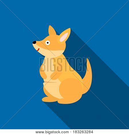 Kangaroo icon flat. Singe animal icon from the big animals flat.