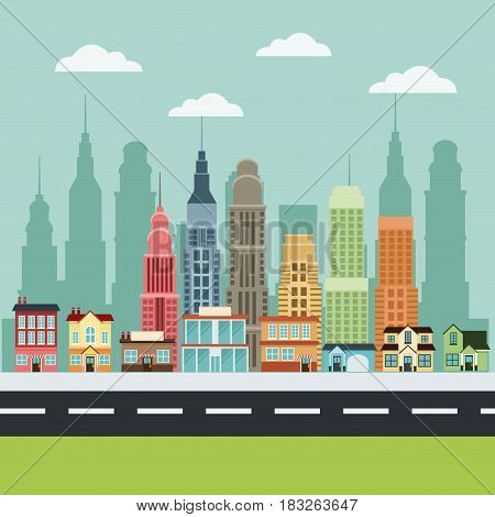 downtown city home apartment building trade office vector illustration