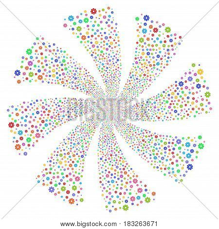 Cog fireworks swirl rotation. Vector illustration style is flat bright multicolored iconic symbols on a white background. Object flower done from random pictograms.