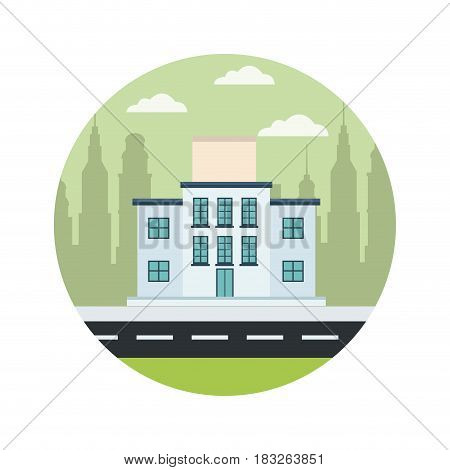 school building structure street city scape vector illustration