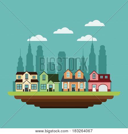 neighborhood houses private urban style design vector illustration